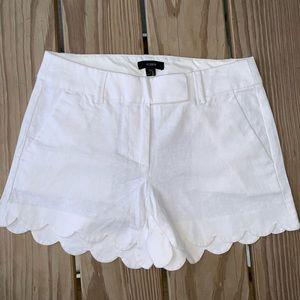 NEW White J. Crew Scalloped Shorts
